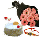 Giftacrossindia Rakhi Express With Pink Gerberas Bouquet And Pineapple Cake (GAIR2016189)