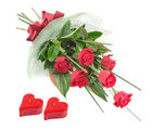 Gifts valley 10 Red Roses Bunch With Heart Shape Candles on Valentine