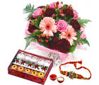 Giftacrossindia Rakhi Express Combo Of Mix Flowers And Mix Sweets (GAIR2016241)