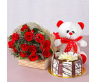 Giftacrossindia Bunch of Twelve Red Roses with Bear and Chocolate Cake (GAIMPHD0595), 1000 gms