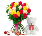 Giftacrossindia Mix Roses Bouquet With Teddy Bear And Rakhi Express (GAIR2016269)