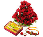 Giftacrossindia Sweets With Rakhi Express And Roses Arrangement (GAIR2016260)