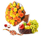 Giftacrossindia Roses Bouquet And Fruits With Rakhi Express (GAIR2016287)