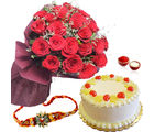 Giftacrossindia Pineapple Cake With Red Roses And Rakhi Express (GAIR2016192)