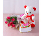 Giftacrossindia Six Pink Roses with Heart Shape Vanilla Cake and Cute Teddy Bear (GAIMPHD0489), 1000 gms