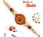 Aapno Rajasthan Round Floral Shape Beads Embellished Rakhi, orange, set of two rakhis with 200 gms kaju katli