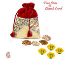 Aapno Rajasthan Golden Velvet Touch Dry Fruit Pouch And Diwali Hamper For Diwali (DMB1621), red and gold