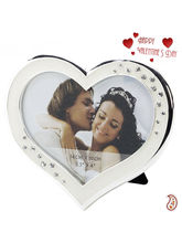 Aapno Rajasthan Engraved Heart Shaped Silver Finish Picture Frame