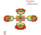 Aapno Rajasthan Rajasthani Wood And Clay Floral Table Art For Diwali (DWUDCLY1423), multicolor