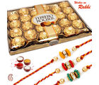 Aapno Rajasthan Delight 24 Pc Ferrero Rocher Pack with Set of 3 Rakhis (INT_ HPR1652), only hamper