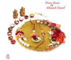 Aapno Rajasthan Beautiful Floral Motifs Decorated Diwali Pooja Thali (DTH1604), multicolor