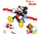 Aapno Rajasthan Bright And Cheerful Mickey Mouse Motif Kids Rakhi, multicolor, only one rakhi