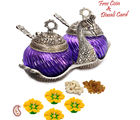 Aapno Rajasthan Beautiful Swan Shaped Joined Bowl Set With Purple Glass For Diwali (WHM15356_ DF), purple