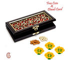Aapno Rajasthan Charming Floral Cut Design Gift Box With Dryfruits For Diwali (DMB1454), brown and red
