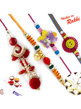Aapno Rajasthan Beautiful Red Beads Studded Family Rakhi Set with Teddy And Smiley Kids Rakhis (INT_ RF1618), only one family rakhi set