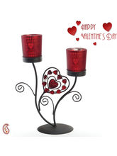 Aapno Rajasthan Love Etched Frosted Glass Valentine Candle Holder