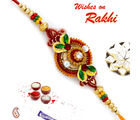 Aapno Rajasthan Stone Beads And Ad Studded Round Shape Rakhi, multicolor, set of two rakhis