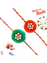 Aapno Rajasthan Set of 2 Green And Red Floral Shape AD Studded Rakhi (INT_ PST16209), only set of 2 rakhi