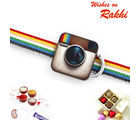 Aapno Rajasthan Band Kids Rakhi With Instagram Camera Motif, multicolor, one rakhi with 8pc home made chocolate