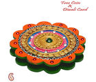 Aapno Rajasthan Floral Design Wooden Clay Work Chopra With Compartments For Diwali (DWUDCLY1433), multicolor