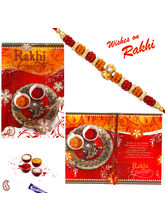 Aapno Rajasthan Lovely Rakhi Card with message And Rakhi (INT_ RCD1602), only rakhi and card