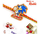 Aapno Rajasthan And Smiling Cat Kids Rakhi, red and blue, set of two rakhi with 8pc home made chocolate