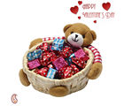Aapno Rajasthan Teddy Bear Cane Basket With Home Made Chocolates And Love Expressions