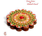 Aapno Rajasthan Floral Design Kumkum Chopra Made In Wood And Clay For Diwali (DWUDCLY1295), multicolor