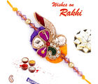 Aapno Rajasthan And Beautiful Zardosi Rakhi, purple and yellow, only one rakhi