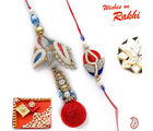Aapno Rajasthan Lovely Red And Blue Rich Zardosi Bhaiya Bhabhi Rakhi Set (US_ RP702), only bhaiya bhabhi rakhi