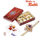 Aapno Rajasthan Decorated Box of Kaju Laddoos, Kaju and Rakhi (INT_ MB1639), only hamper