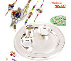 Aapno Rajasthan Simple And Elegant Silver Base Rakhi Pooja Thali with Set of Bhaiya Bhabhi And Kids Rakhis (INT_ RTH1613), only thali set