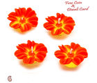 Aapno Rajasthan Orange Flower Candle Diyas- Set Of 4 For Diwali (DIDEC1547), orange and yellow