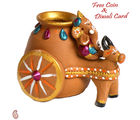 Aapno Rajasthan Terracotta Cow & Ganesh Vase For Diwali (DTC15510), multicolor