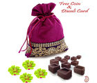 Aapno Rajasthan Purple Pouch With Home Made Chocolates & 4 Floating Candles For Diwali (DCHO1622), purple