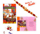 Aapno Rajasthan Rakhi Card with Emotional Message And Rakhi (INT_ RCD1608), only rakhi and card