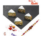 Aapno Rajasthan Dry Fruit Stuffed Pista Cake With Free Rakhi And Tilak, yellow, rakhi with 1000 gms sweets
