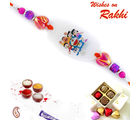 Aapno Rajasthan And Beads Doremon Family Motif Kids Rakhi, pink and purple, only one rakhi
