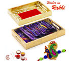 Aapno Rajasthan Red Gold Box with Assorted Dairy Milk Chocolates (INT_ CHO1645), only hamper
