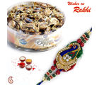 Aapno Rajasthan Butter Toffees Round Box and Rakhi Hamper (INT_ CHO1629), only hamper