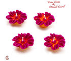 Aapno Rajasthan Flower Wax Candle Dyas- Set Of 4 For Diwali (DIDEC1545), pink