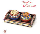 Aapno Rajasthan Set Of 2 Hand Painted Terracotta Pots With Dry Fruits And Tray For Diwali (DTC1326), multicolor