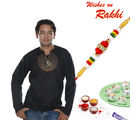 Aapno Rajasthan OM Embroidered Short Kurta with Rakhi Hamper (INT_ HPR1632), hamper with 200 gms kaju laddoo