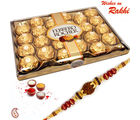 Aapno Rajasthan 24 Pc Ferrero Rocher Box with Rakhi (INT_ CHO1601), only hamper