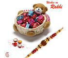 Aapno Rajasthan Teddy Bear cane Basket with Home made chocolates and Rakhi (INT_ CHO1609), only hamper