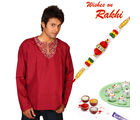 Aapno Rajasthan Maroon Embroidered Short Kurta with Rakhi Hamper (INT_ HPR1633), hamper with 200 gms kaju laddoo