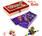 Aapno Rajasthan Red Base Peacock Engraved Box with Assorted Dairy Milk Pack (INT_ CHO1633), only hamper