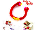 Aapno Rajasthan Beautiful Twin Smiley New Born Baby Rakhi, red and yellow, only one rakhi