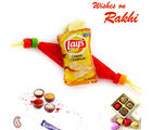 Aapno Rajasthan Classic Lays Miniature Motif Rakhi For Kids, red and yellow, only one rakhi