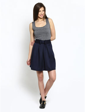 Navy Box Pleated Skirt with Side Zip, xl, navy